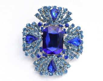 Blue Rhinestone Crystal Brooch Wedding Accessories Bridal Brooch bouquet Wedding Cake Brooch