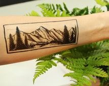 Rectangle Mountain & Pine Forest Scene, Temporary Tattoo, Black Line, Nature Tattoo
