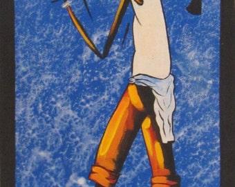 """African Farmer, Acrylic on Canvas/Cloth Painting - 22cm x 54cm, 9""""x21"""""""