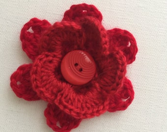 Crochet flowers, crochet appliqués, flower appliqués, embellishments, red flower