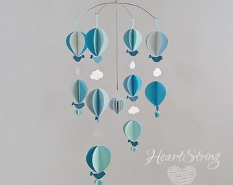 Hot Air Balloon Mobile -baby mobile- clouds-birds- gender neutral- blue-aqua
