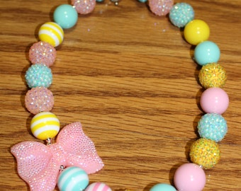 Pastel Chunky Beaded Necklace perfect for Spring & Easter