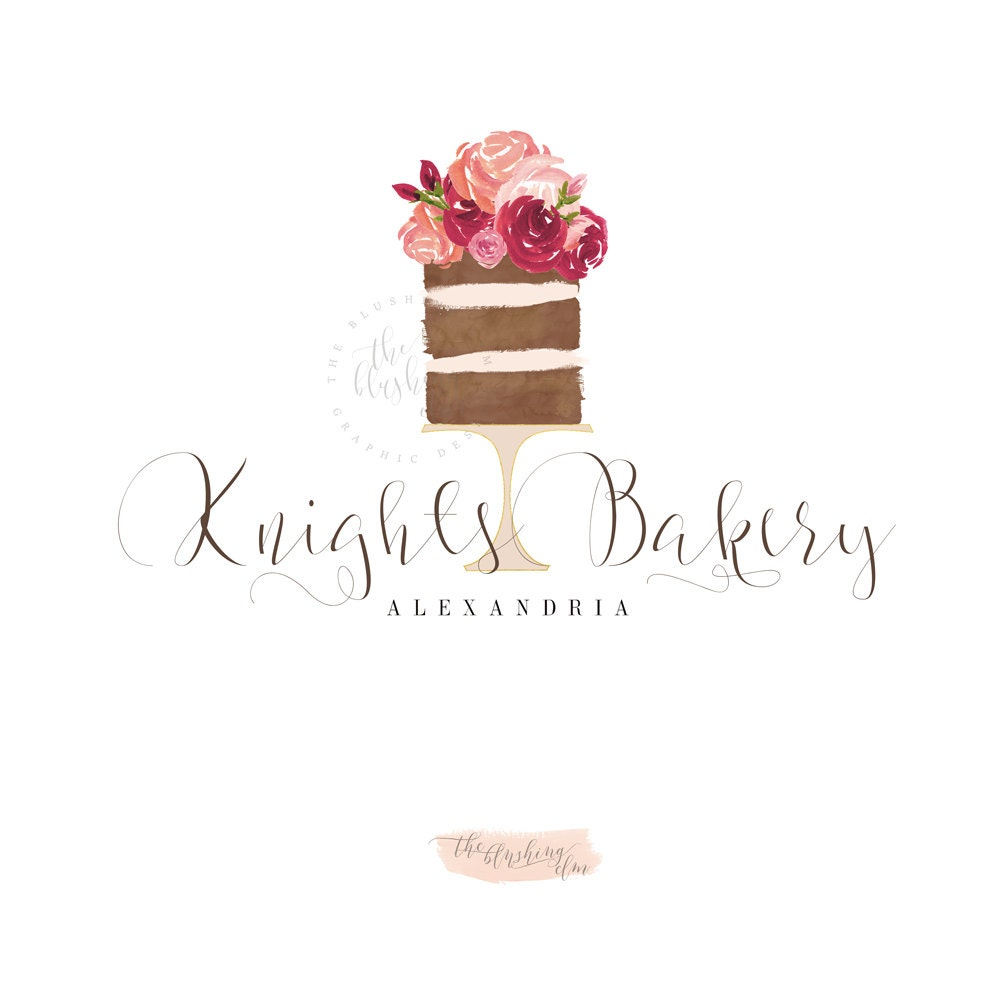 naked cake logo premade logo graphic design by theblushingelm