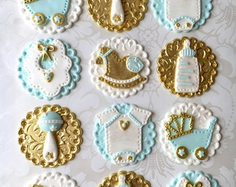 Royal theme baby shower fondant cupcake topper. Boy Baby Shower Edible Cupcake Topper. Vintage Baby shower Topper. Custom Baby Shower Topper