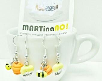bee and honey fimo earrings - orecchini in fimo con apina e miele