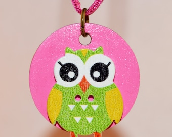 Owl on Pink Necklace