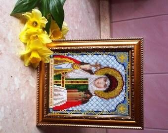 Beads Embroided Icon Saint Olga