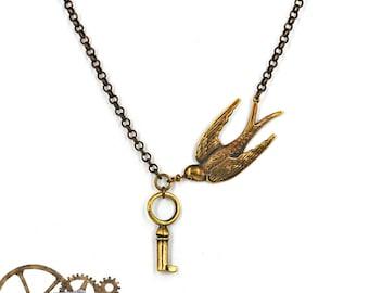 Swallow  pendant Bird jewelry vintage martlet  Patina Victorian necklace key pendant