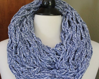 Denim Blue and White Arm Knit Infinity Scarf