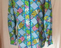 Blouse size 10 Made in California, floral Alex Colman vintage blouse clothing womens shirt summer blouse ladies 70s clothing ladies