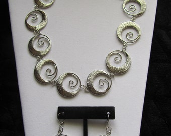 Spiral Circle Necklace and Earrings