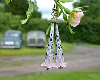 Pink Earrings, Floral Earrings, Flower Earrings, Lilac Earrings, Woodland Wedding, Gift For Her, Fantasy Jewelry, Dangle Earrings, Swarovski