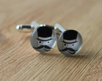 Wedding cufflinks - Top Hat moustache design, vintage wedding cufflinks, Fathers day gift, groom, bestman gift, glass, gift for him, for men