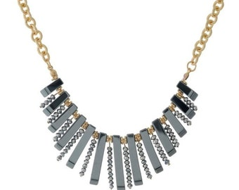 """Gold tone necklace with hematite beads and fringe. Approximately 16"""" in length"""
