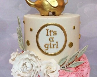 gold elephant wedding cake topper paint fondant etsy 14752
