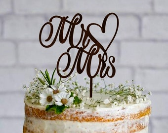 Mr Mrs Wedding Cake Topper Wooden Cake Topper Custom Mr and Mrs Gold cake topper Silver cake topper