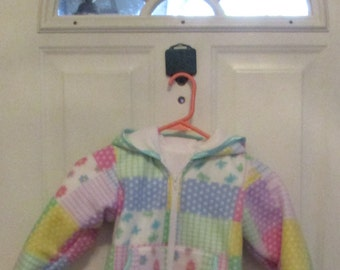 Girls Fleece Hoodie Jacket- Linned - Pockets- Pastel Patchwork - Pink  Blue Purple -  Girls Clothing - Baby Clothes - Toddler fleece Hoodie