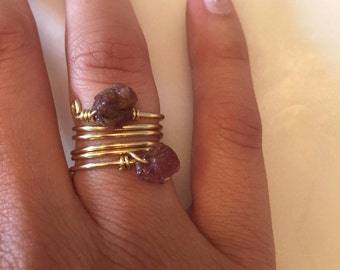 Brass Wire Ring| Garnet Wire Ring| Wire Wrapped Ring