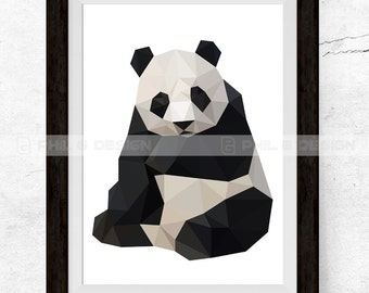Geometric Panda Etsy