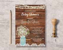 Rustic Baby Shower Invitation Printable, mason jar baby shower invite, instant download editable pdf, digital file, gypsophila flower rustic