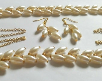 Gold Beaded Necklace, Bracelet, and Earring Set