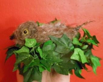 Needle felted whippoorwill in habitat, needle felted bird,needle felted collectable,collectables,birds