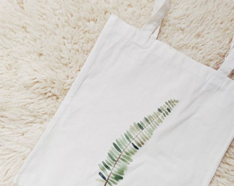 Tote bag canvas cheap fern nature green plant botanical cotton