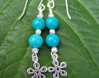 Turquoise earrings, Sterling Silver earrings, Turquoise Silver Earrings, Flower earrings, Flower charm