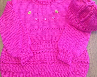 Hot pink sweater | Etsy
