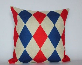 Red and blue Pillow Covers, Cushion Cover, Decorative Pillow Case, Geometric Pillow cover, Home decor Throw Pillow, Living Room Decor Pillow