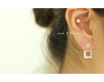 Square Front and Back Stud Earrings/ Open Square Ear Jackets