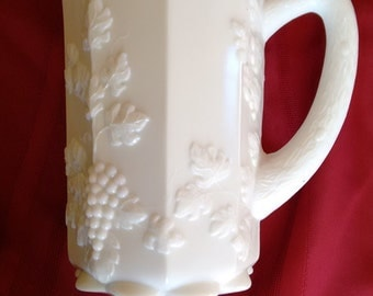 Pitcher Westmoreland milk glass  Paneled Grape design