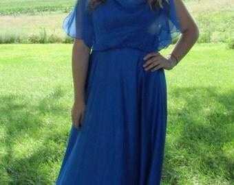 1970's Disco Dress Medium | Prom Evening Royal Blue Front and Back Drape Dress Boho | Medium | Size 8