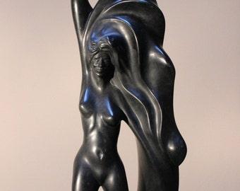 Lemanja - Black Chlorite Stone Sculpture