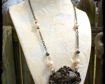 Liquor Decanter Tag Handmade & Upcycled Necklace - Vintage Faux Pearls, Gin, Antique Beads, Hematite, Ornate Necklace, Liquor, Elegant