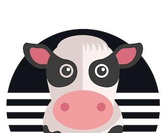 Cow Nursery Print, Farm Animal Art Print, Nursery Decor, Nursery Wall Art, Children's Cow Art 002