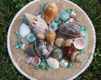 Sand & Shell Handmade Original Collages- Green #2