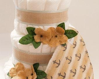Vintage Sailor DIaper Cake - 3 tier diaper cake - Burlap/Natural diaper cake