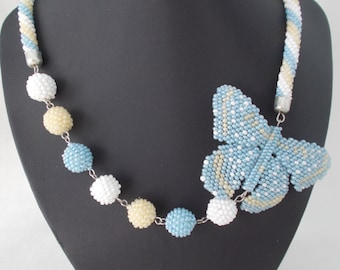 Beaded necklace. Butterfly Necklace. Handmade.