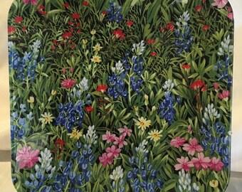 "Texas Bluebonnets Wildflowers 10.5"" glass plate"