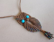macrame owl necklace-pendant with turquoise beads and seed beads