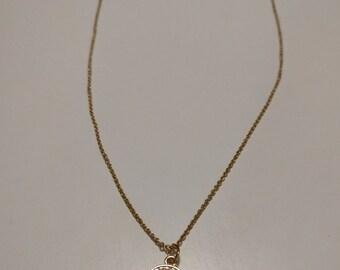 Circle gem gold necklace