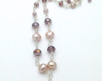 Grape Swarovski Crystal and Freshwater Pearl Silver Plated Necklace