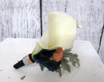 White calla lily Boutonniere, Navy Peach Wedding Boutonniere, Groom groomsmen boutonniere