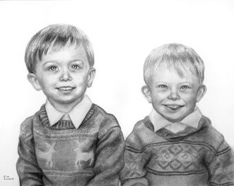 Child Portrait Custom, Child Portrait Drawing, Charcoal Portrait, Customized Portrait From Photo, Personalized Portrait Drawing