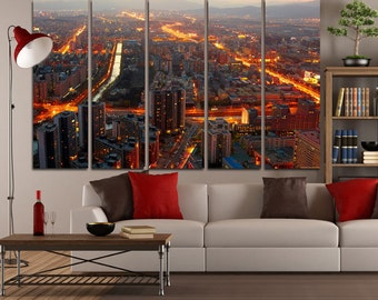 Large Wall Cityscape Canvas Color Multipanel Canvas City View Canvas Art Large  1-3-4-5 Panel City Print
