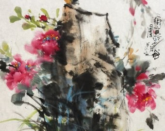 Bird and Flower - Chinese Ink Painting Original