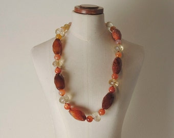 Faceted Citrine necklace carnelian, agate and Sterling Silver Clasp 925%