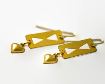 Geometry Heart Earrings Double Triangle Cut Out Polished Gold Metal Dangle Edgy Lightweight Sexy Jewelry Under 20