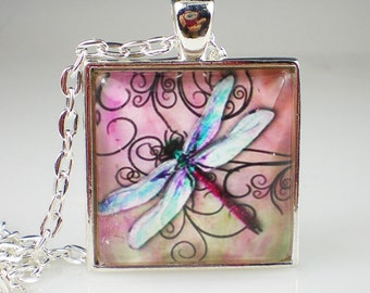 Dragonfly Necklace Aqua Pink Glass Photo Art Vintage Inspired Dragonfly Jewelry
